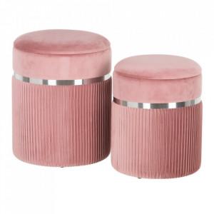 Set 2 tabureti rotunzi roz din poliester si MDF Clute Ixia