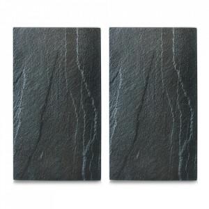 Set 2 tocatoare dreptunghiulare gri antracit din sticla 30x52 cm Slate Zeller
