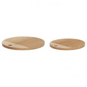 Set 2 tocatoare rotunde maro din lemn Tony Hubsch