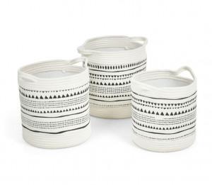 Set 3 cosuri alb/negre din textil Kamori Kave Home