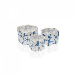 Set 3 cosuri albe/albastre din poliester Laundry Basket Stars Mini Versa Home
