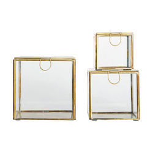 Set 3 cutii patrate din sticla si alama 9 / 12 / 15 cm House Doctor