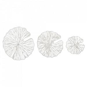Set 3 decoratiuni albe din metal pentru perete Spring Bloomingville