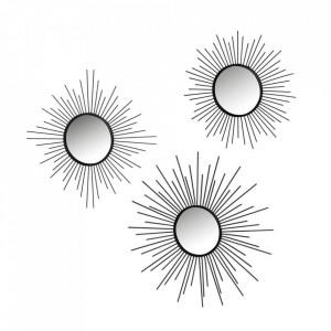 Set 3 decoratiuni cu oglinda negre din fier pentru perete Tamy Unimasa