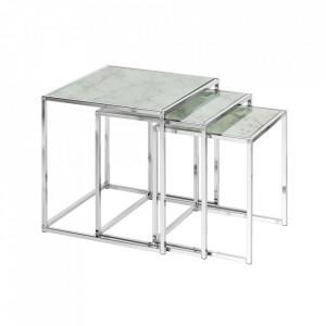 Set 3 masute albe/gri din sticla si metal Elements Invicta Interior