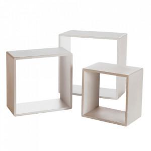 Set 3 rafturi albe din MDF Thomas Unimasa