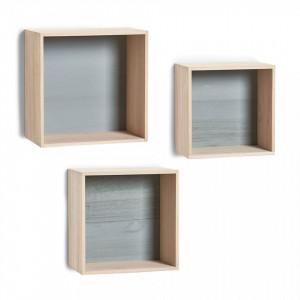 Set 3 rafturi maro din lemn pentru perete Wood Cubes Zeller