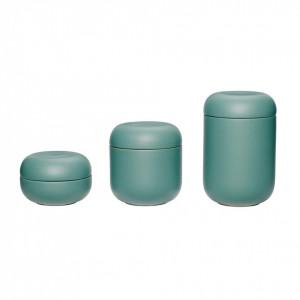 Set 3 recipiente cu capac verzi din ceramica Wagner Hubsch