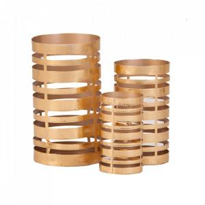 Set 3 suporturi lumanare aurii din fier Zenia Vical Home