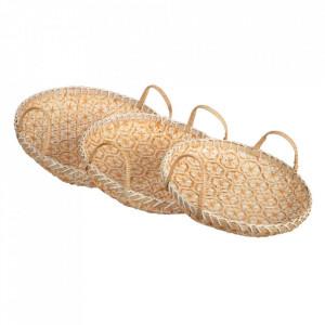 Set 3 tavi rotunde maro din bambus Verpel Ixia