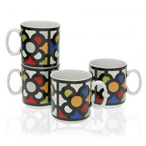 Set 4 cani multicolore din portelan 8x10,5 cm Urbana Mug Versa Home
