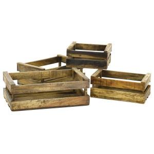Set 4 cutii maro din lemn reciclat Caisse Zago