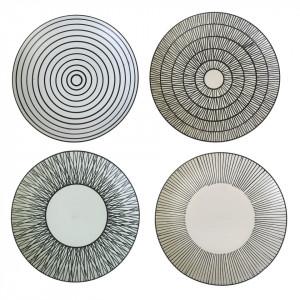 Set 4 farfurii alb/negre din ceramica 27 cm Pastel Pols Potten