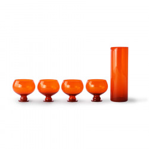 Set 4 pahare si carafa portocalii din sticla Funky Glassware HK Living