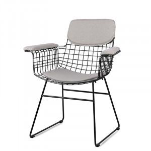 Set 4 perne gri din in si bumbac pentru sezut si spatar scaun cu manere Pebble HK Living