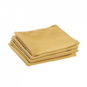 Set 4 protectii masa patrate galbene din textil 40x40 cm Samay La Forma