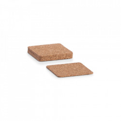 Set 6 coastere maro din pluta Cork Table Square Zeller