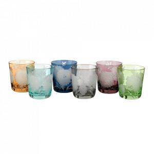 Set 6 pahare multicolore din sticla Peony Pols Potten