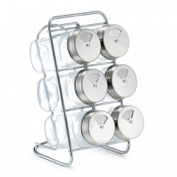 Set 6 recipiente transparente cu suport din sticla si inox 80 ml Spice Rack Multi Zeller
