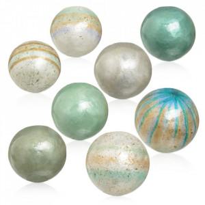 Set 8 decoratiuni albastre/maro din scoica Semide Ixia