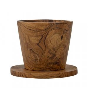 Set cana si farfurie din lemn de tec Vatima Bloomingville