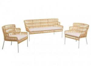 Set canapea si 2 fotolii maro din sfoara si otel pentru exterior Robyn Kave Home