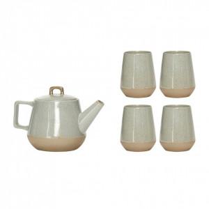 Set ceainic si 4 cesti ceramica Genie Hubsch