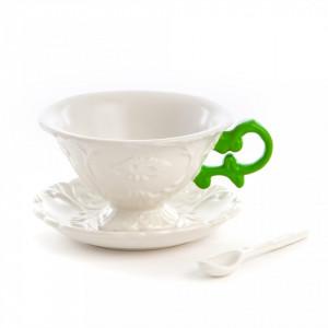 Set ceasca cu farfurioara din portelan alb pentru ceai cu 7x13cm I-Wares Green Seletti