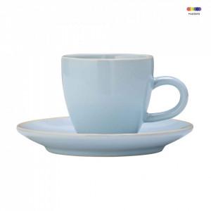 Set ceasca si farfurioara albastra din ceramica Olivia Bloomingville