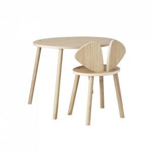 Set masa si scaun maro din lemn Mouse School Nofred