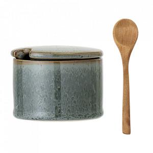 Set recipient cu capac si lingura verde/maro din ceramica si lemn Bloomingville