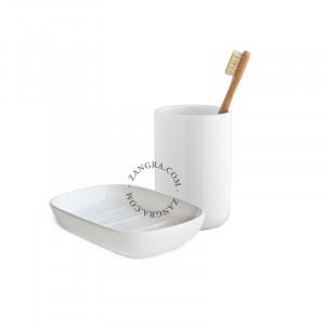 Set savoniera si suport din ceramica Julia White Zangra