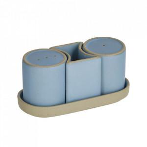Set solnita si pipernita cu suport gri/albastre din ceramica Midori Kave Home