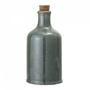 Sticla cu dop verde din ceramica si pluta 650 ml Pixie Glaze Bloomingville