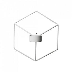 Suport alb din otel 21 cm pentru lumanare Heris Menu