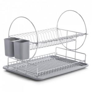 Suport argintiu/gri din metal si plastic pentru vase Miluna Zeller