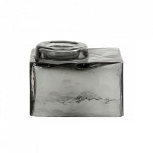 Suport gri din sticla pentru lumanare 7 cm Alec Nordal