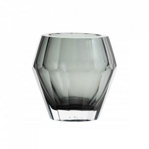 Suport gri fum din sticla pentru lumanare 13 cm Lion Nordal