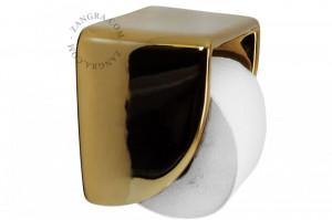 Suport hartie igienica auriu din ceramica Cory Zangra