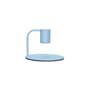 Suport lumanare albastru din metal 6 cm Blue Candlestick Hubsch