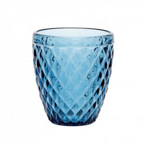 Suport lumanare albastru din sticla 10 cm Dayna Hubsch