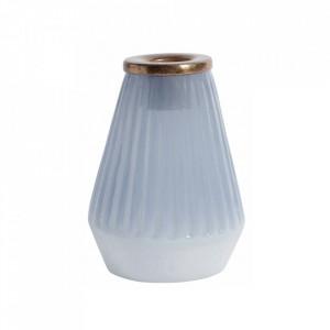 Suport lumanare albastru prafuit din sticla si metal 10 cm Douce Nordal