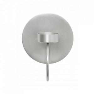 Suport lumanare argintiu din fier pentru perete 14,5 cm Circle Nordal