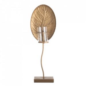 Suport lumanare auriu din zinc 67 cm Leaf Ixia