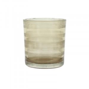 Suport lumanare grej din sticla 8 cm Moeshe Lifestyle Home Collection