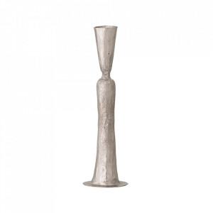 Suport lumanare gri argintiu din fier 22 cm Carly Bloomingville