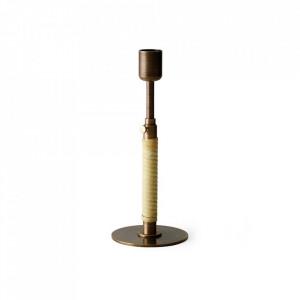 Suport lumanare maro bronz din ratan si alama 24 cm Duca Menu