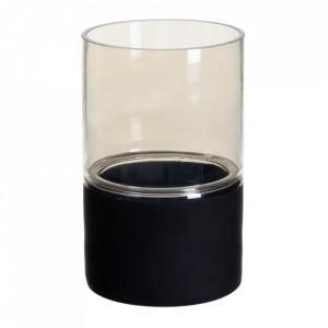Suport lumanare neagra/gri din sticla 25 cm Cauroy Ixia