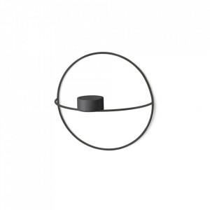 Suport lumanare negru din otel 20 cm POV Small Circular Menu