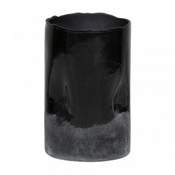 Suport lumanare negru din sticla 16 cm Frosted Be Pure Home